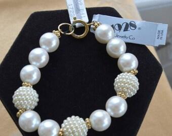 "ON SALE Pretty Vintage Large Faux Pearl, Gold tone , ""1928"" (AL11)"