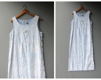 Pale Floral Dress Long Jean Sundress Vintage Boho Hipster Preppy Dress Side Button Sleeveless Dress Women's Size Medium