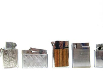 Retro 1970s 1980s Lighter Collection Silver Smoking Accessories Hipster Bar Decor Mad Men Bling Park Scripto Bentley Rosin
