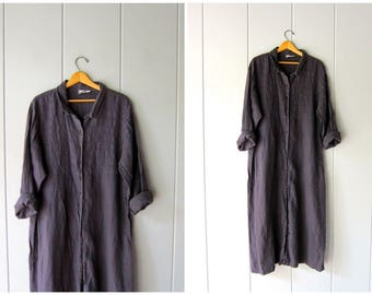90s Minimal Slouchy Linen Dress Oversized Vintage Dark Purple Long Sleeve Shirt Button Up Loose Fit Modern Kiko Sack Dress Womens Large