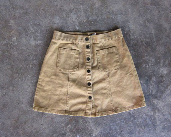 90s Mini Jean Skirt High Waist Denim Skirt Vintage 90s Miniskirt Snap Front Summer Jean Skirt Khaki Beige Denim Skirt Size Small