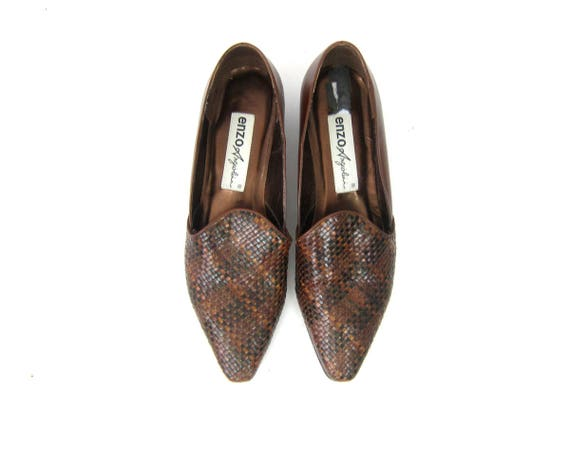 Minimal Brown Shoes Woven Leather Slip On Dress Shoes Vintage Causal Modern Short Heel Loafers Brown Weave Pumps Shoes Women's Size 10