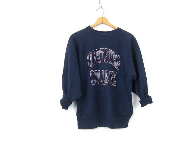 vintage Wartburg College sweatshirt Navy Blue cotton Champion sweatshirt Baggy Sports sweater Unisex Size Large