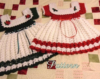 PDF CROCHET PATTERN Christmas Toddler Dress, 18 to 24 mos, girl, toddler, lacy, holiday, Intermediate skill level