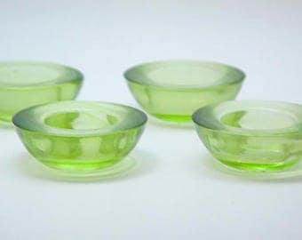 Vintage Round Glass Candle Holders Green