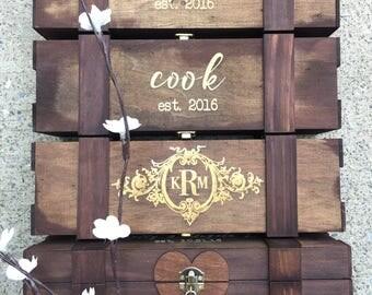Personalized Heart Lock Wine Box - Time Capsule, Wine Ceremony - Wooden Wine Box, Custom Wine Box, Custom Engraved Wine Box, Rustic Wine Box