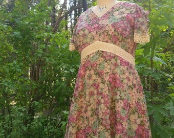 60s does 30s maxi dress plus size 20 boho bridesmaid hippy romantic handmade peasant floral gown