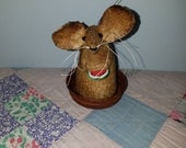 Primitive Summer Time Watermelon Mouse   Handmade Mouse   Mouse of the Month Club   Homespun from the Heart