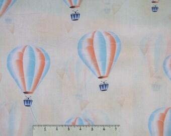 Arctic Kiss Fabric - Peach & Blue Hot Air Balloon on Cream - Lecien YARD