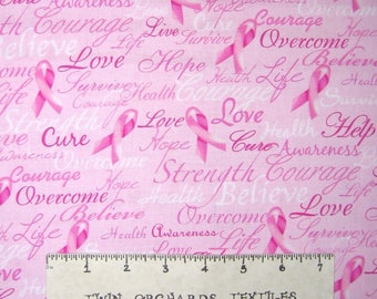 Breast Cancer Awareness Fabric - Pink Ribbon Word Pink - Timeless Treasures YARD