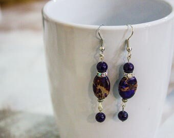 Dangle Earrings -  Purple Marble