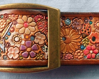 Pastel Flower Garden with Butterflies Dragonflies Ladybugs Leather Belt with Medium Brown  Border made in GA USA