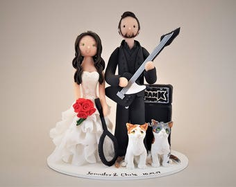 Guitarist & Tennis Player with Cats Customized Wedding Cake Topper