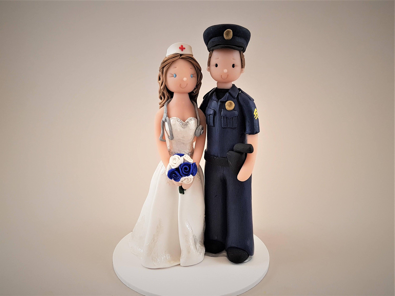 Police Officer & Nurse Custom Handmade Wedding Cake Topper ...