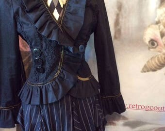 SALE Gothic Jacket Neo Victorian black lace ruffle boho gypsy  goth lolita steampunk 36 chest  Retro G couture coupon code RGCSALE