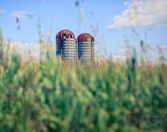 Landscape Print, Rustic Home Decor, Farm Photograph, Fine Art Photography, Summer Photo, Silo Picture, Bokeh, Adirondacks, Rust, Blue, Green