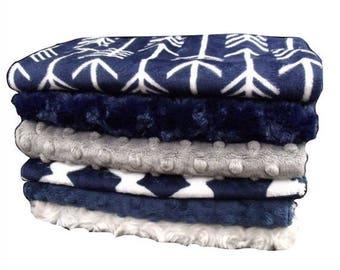 SALE Navy and Gray Arrow print Baby Burp Cloths, Navy Blue Baby Burp Rags, Burping Accessories