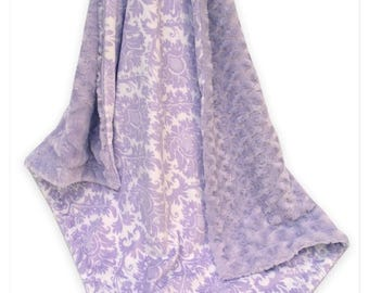 SALE Lavender Damask and Swirl Minky Baby Blanket, Light Purple Damask Minky Blanket,  Can Be Personalized