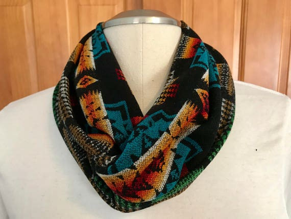 Wool Infinity Scarf 59 x 6 1/2 Turquoise & Black Mini Chief Joseph