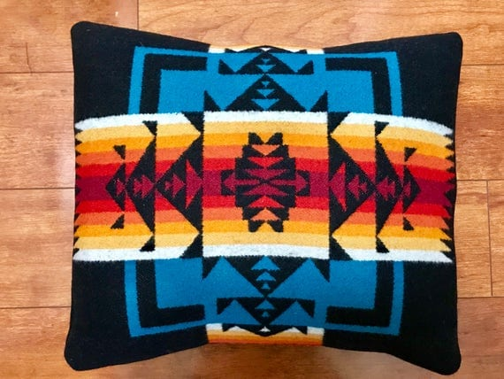 Wool Pillow Cover / Accent Pillow Cover 15 x 13 Black / Turquoise Chief Joseph