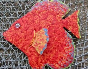 Art Sculpture Tropical Fish Metal Wall Decor Red Orange Fish Wall Sculpture Marine Art Beach House Coastal Bathroom Decor Sun Fish 7 x 9