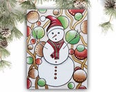 Snowman Painting on Canvas Christmas Gift Holiday Decor - Whimsical Snowman Wall Art Kids Room Decor