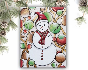Snowman Painting on Canvas Christmas Gift Holiday Decor - Whimsical Snowman Wall Art Kids Room Decor