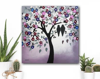 Ultra Violet Wedding Art Love Birds Home Decor, Couples Home Decor, Romantic Love Birds Bedroom Decor, Gift for Couples