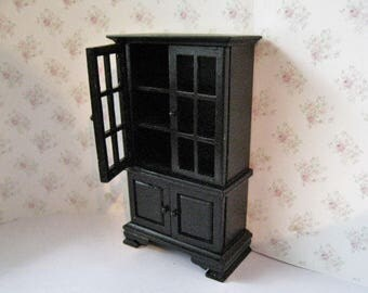 Dollhouse  Hutch,, dining room dresser, Black cabinet,   Black elegant , , , twelfth scale, dollhouse miniature