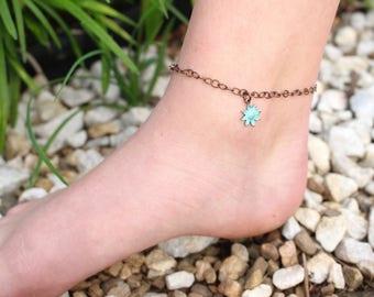 Turquoise Sunflower Anklet, Boho Anklet, Bohemian style flower anklet, Summer flower anklet