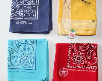 Vintage Boxlot of Bandanas.  All Different, Four Different Colors
