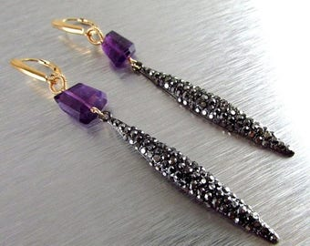 25 OFF Marcasite Dagger and Amethyst Long Mixed Metal Earrings