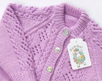 Lilac Cardigan. Hand Knit Cardigan. Hand Knit Sweater. Hand Knit Childrenswear.