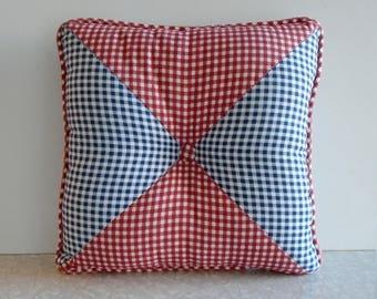 gingham throw pillow, vintage waverly throw pillow, vintage throw pillow, red white & blue, fourth of july decor, usa americana, cottage