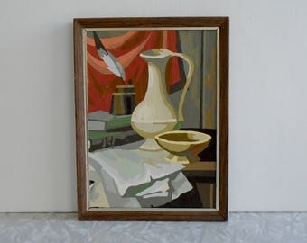 still life paint-by-number, vintage paint by number, midcentury pbn, literary scene with pitcher, bowl, quill and books, small kit painting