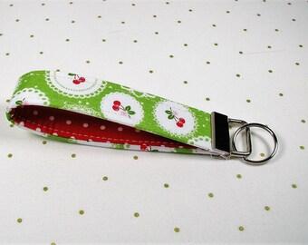 Key Fob Wristlet, Fabric Key Chain, Wrist Key Chain .. Sew Cherry Doily in Green