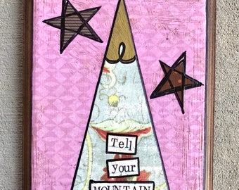 Mountain and God mixed media collage art plaque bu Things With Wings