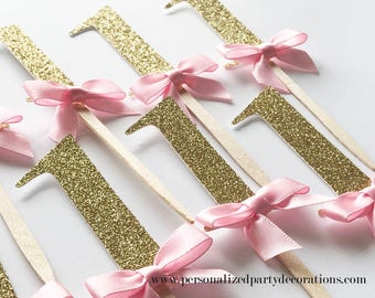1 Gold Glitter Cupcake Toppers, Girl 1st birthday party, 2nd birthday, 3rd birthday, glitter party decorations – Quick & Free Shipping