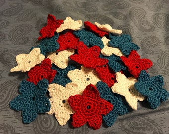 Crochet stars-red,white,blue