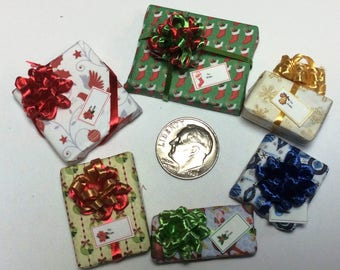 Six Assorted Miniature Christmas Packages set #204
