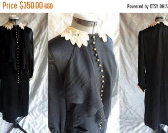ON SALE 20s 30s Dress // Vintage 1920's 1930's Black Satin Dress with Cream Lace Collar and Cuffs and Chiffon Drape Flapper Size M Amazing C
