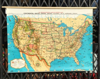 Vintage US History Roll Up Pull Down School Map of the USA in the 1960s