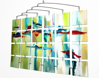 Mobile - Moving Painting Original Abstract Mobile Sculpture Kinetic Art by Carolyn Weir - READY TO SHIP