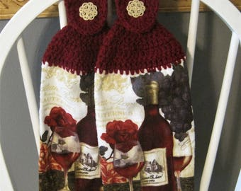 2 Crocheted Hanging Kitchen Towels - Red Wine