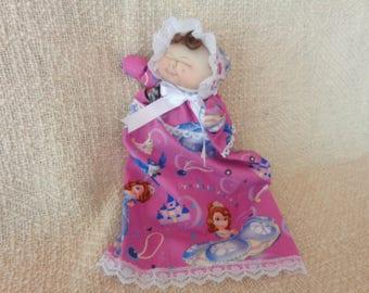 Soft sculptured newborn baby doll puppet -