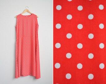 Size XL // POLKA DOT Maxi Sundress // Sleeveless - Hidden Seam Pockets - Rayon Dress - Vintage '90s.