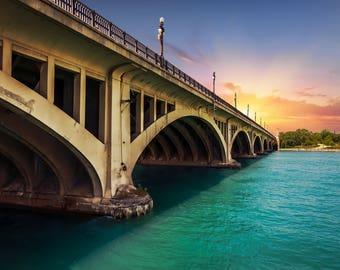 Detroit Photography Metallic Photographic Print of the Belle Isle Bridge at Sunset