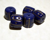NOW ON SALE Handmade Polymer Clay Beads - Navy Blue - Nautical Look