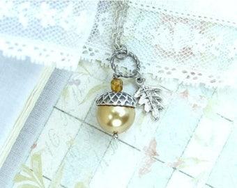 Forest Jewelry Acorn Necklace Autumn Jewelry Nature Necklace Acorn Jewelry Gold Acorn Woodland Necklace