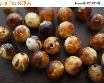 SUMMER GEM SALE Mixed Vanilla Mocca Twirl Amber Round Made with Natural Resins Beads - 8mm- 15 pcs